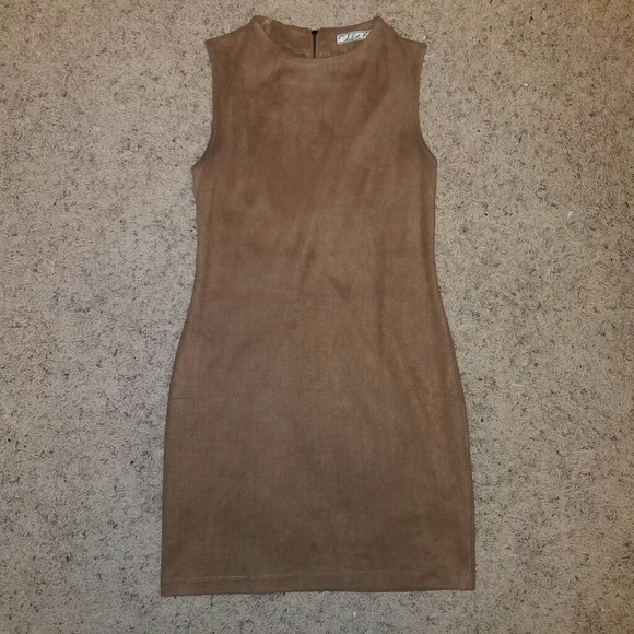 Chloe K Dresses & Skirts - NWOT Light Brown Suede Dress